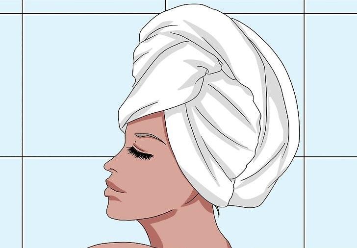 بعد از استفاده از ماسک، سر خود را با کلاه دوش وحوله گرم بپوشانید