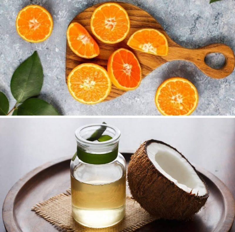 ماسک پرتقال و روغن نارگیل